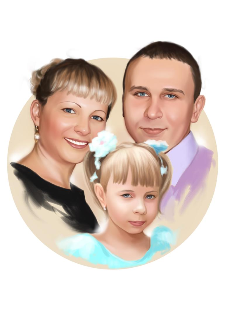 Семейный портрет по фото на холсте в Саратове — правильный подарок!