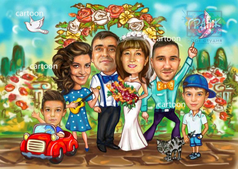 Шарж по фото на годовщину свадьбы на заказ в Саратове…